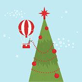 Merry Christmas card.  Man decorate Christmas tree.Vector illustration.