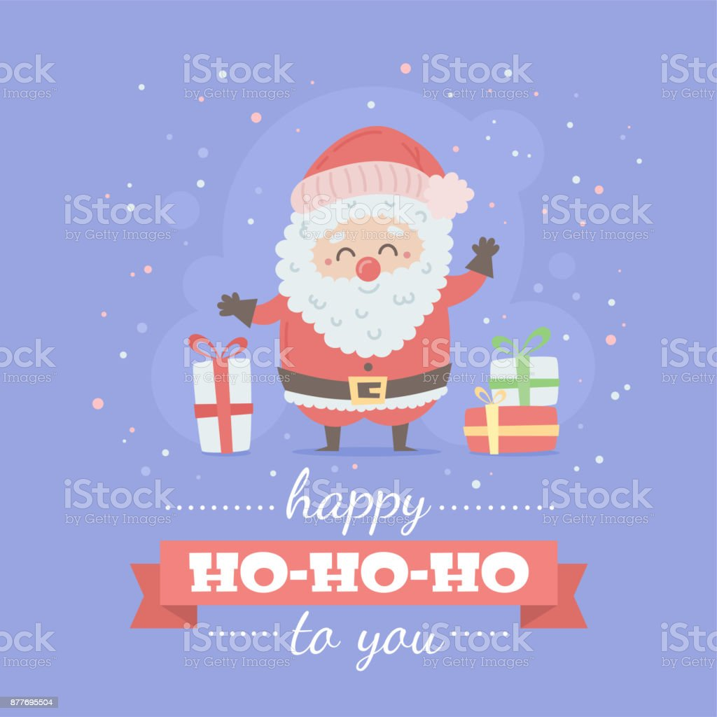 Merry Christmas Card With Cute Cartoon Character Stock Vector Art