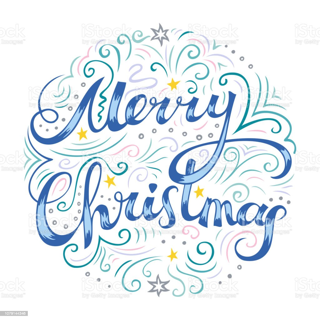 Merry Christmas Card With Freehand Lettering And Line Art Drawings Stock Illustration Download Image Now Istock