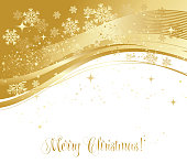 Merry Christmas  card with  gold snowflakes