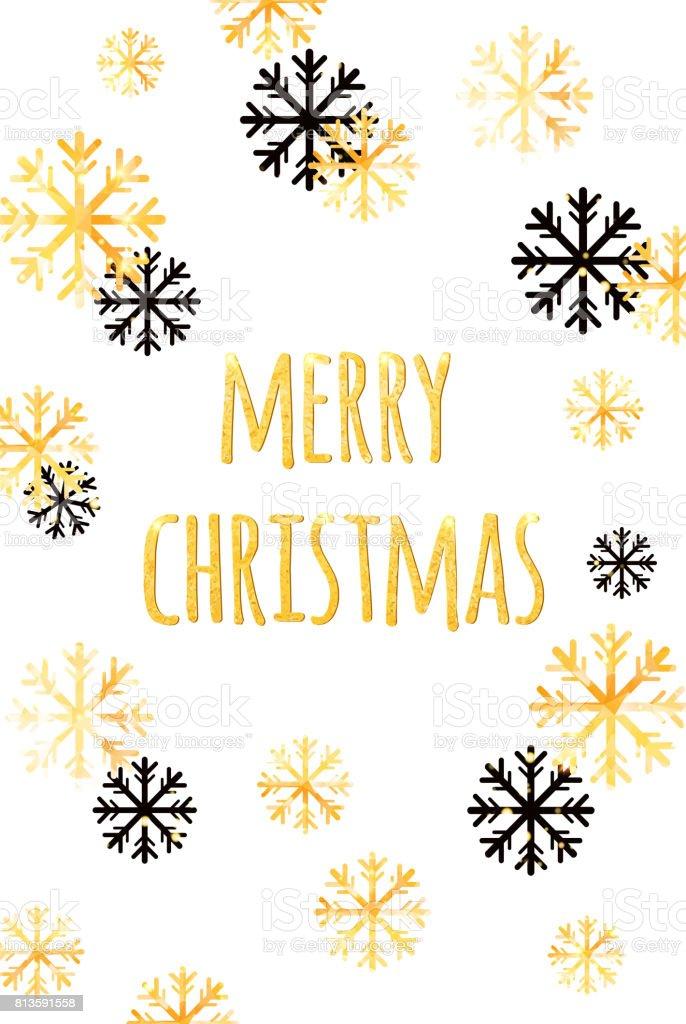 黄金の雪片でメリー クリスマス カード冬のベクトルの背景を抽象化します