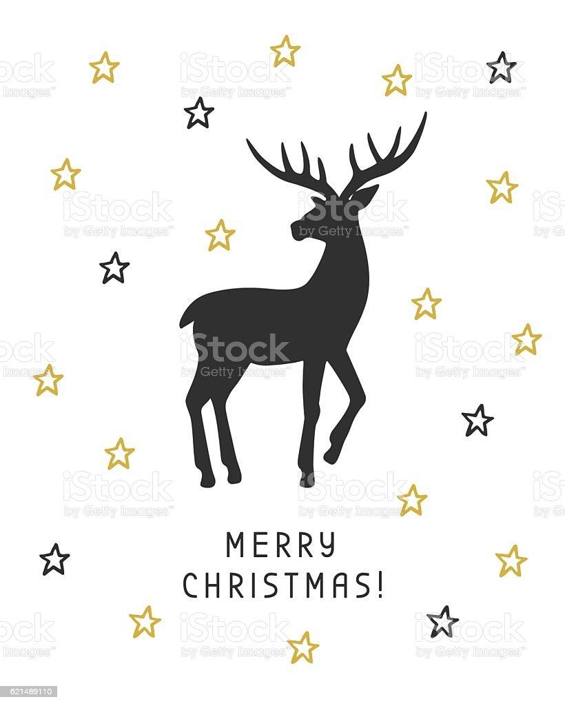 Merry Christmas card with hand drawn vintage deer Lizenzfreies merry christmas card with hand drawn vintage deer stock vektor art und mehr bilder von bildhintergrund