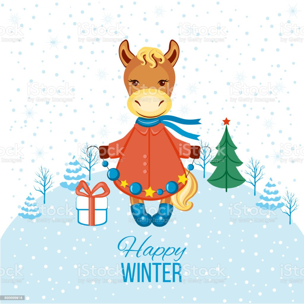 Christmas Horse Cartoon.Merry Christmas Card With Happy Horse In Coat Boots Vector