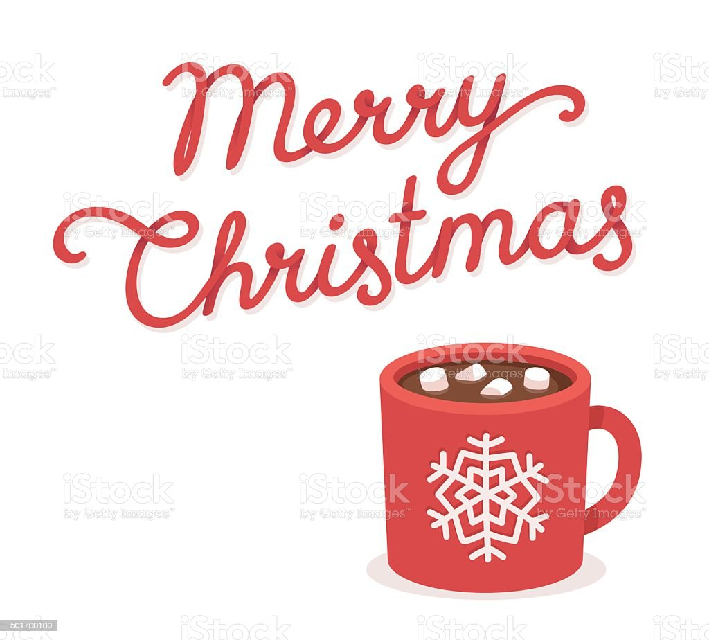 Merry Christmas card with hot chocolate cup vector art illustration