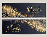 Merry Christmas card with Lettering Design. Golden color Vector illustration. EPS 10