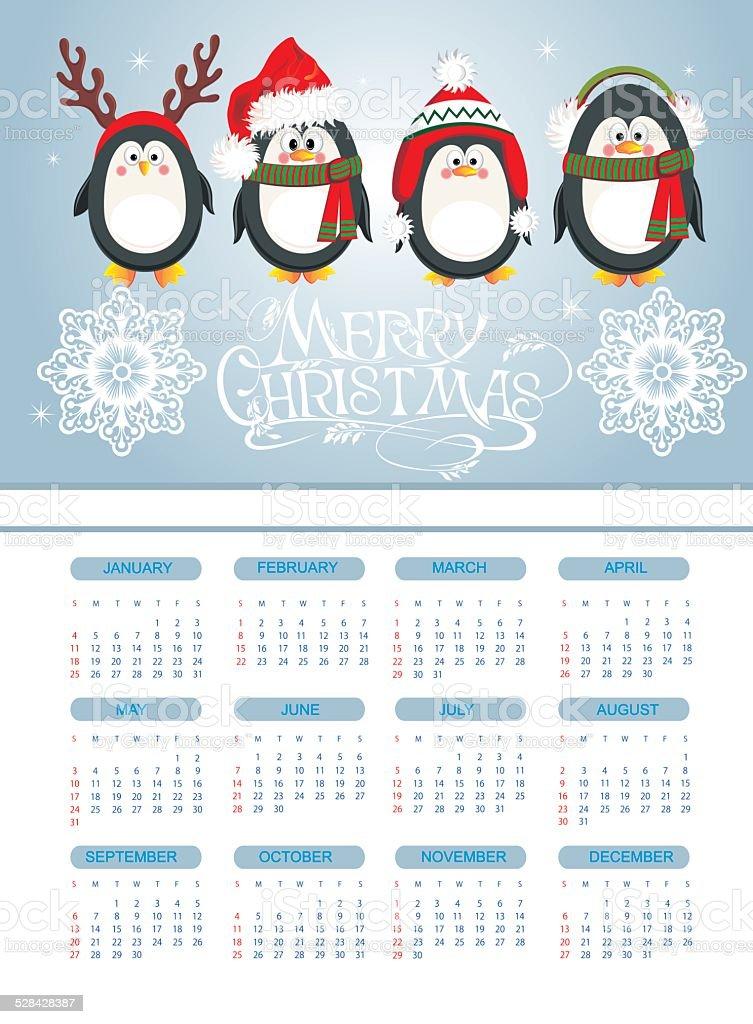 メリークリスマスカード、ペンギン ベクターアートイラスト