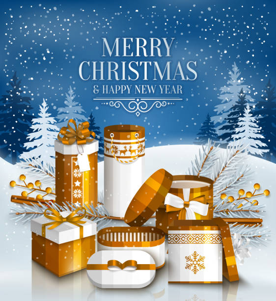 ilustrações de stock, clip art, desenhos animados e ícones de merry christmas card with pile of white and golden wrapped gift boxes, fir branches and yellow berries. snowy landscape. vector. - gradients golden ribbons