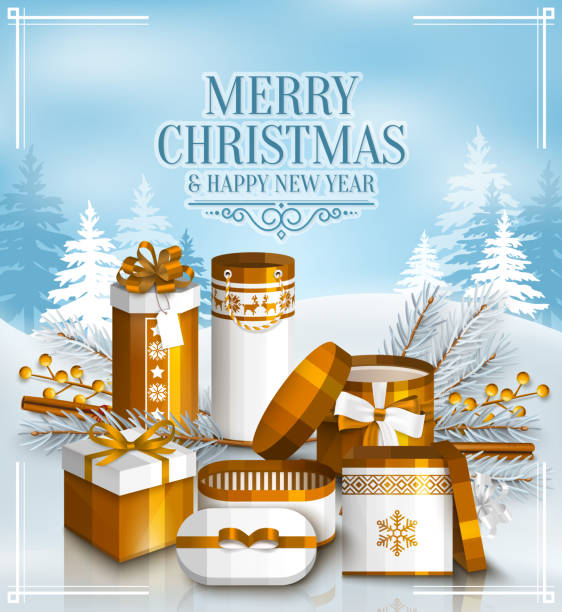 ilustrações de stock, clip art, desenhos animados e ícones de merry christmas card with pile of white and golden wrapped gift boxes, fir branches and yellow berries. snowy landscape. scandinavian pattern. vector. - gradients golden ribbons