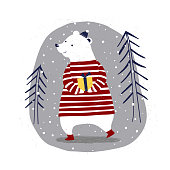 Vector illustration of Merry Christmas Card with polar bear with a gift in winter forest.