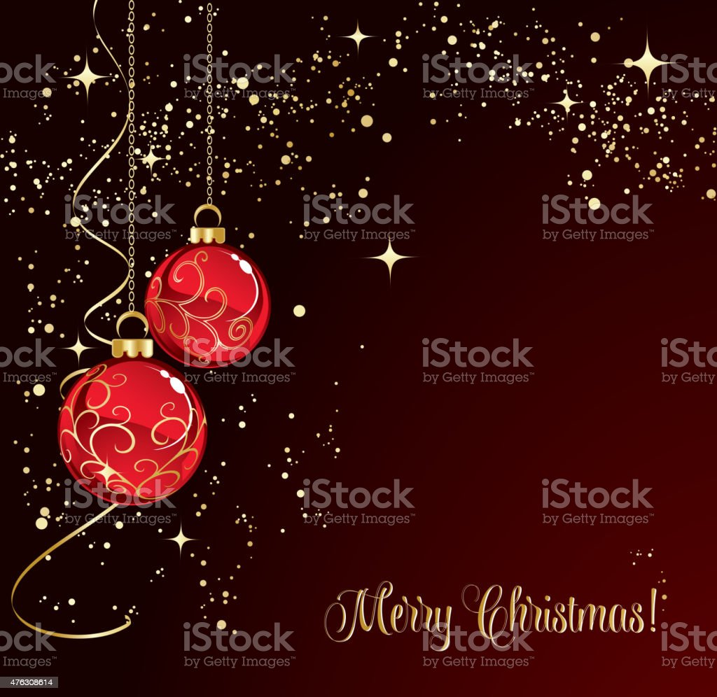 Merry Christmas Card With Red Bauble Stock Vector Art More Images