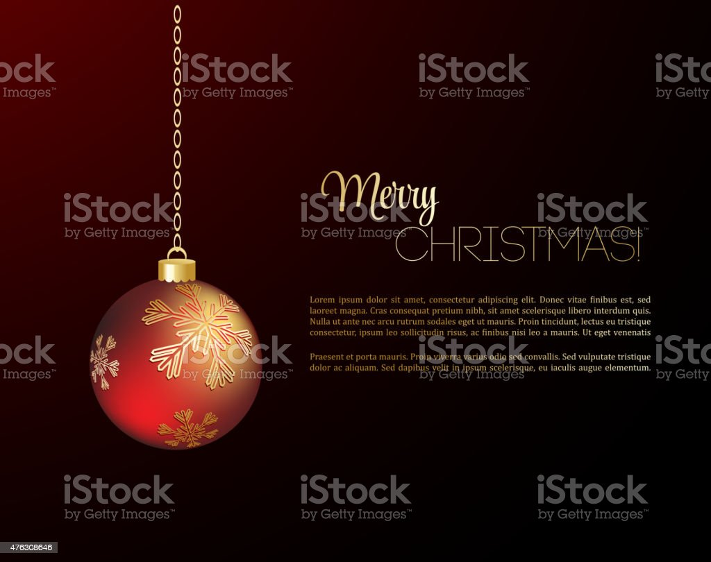 Merry Christmas Card With Red Bauble Stock Vector Art 476308646 Istock