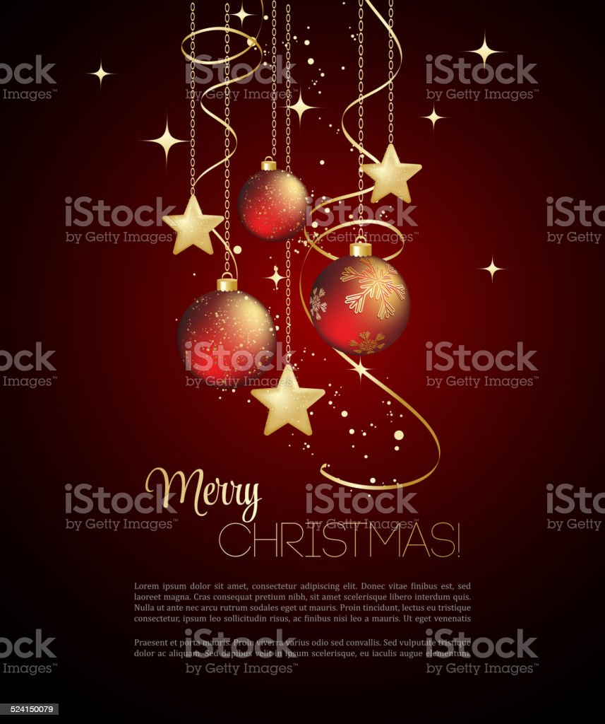 Merry Christmas  card with red bauble vector art illustration