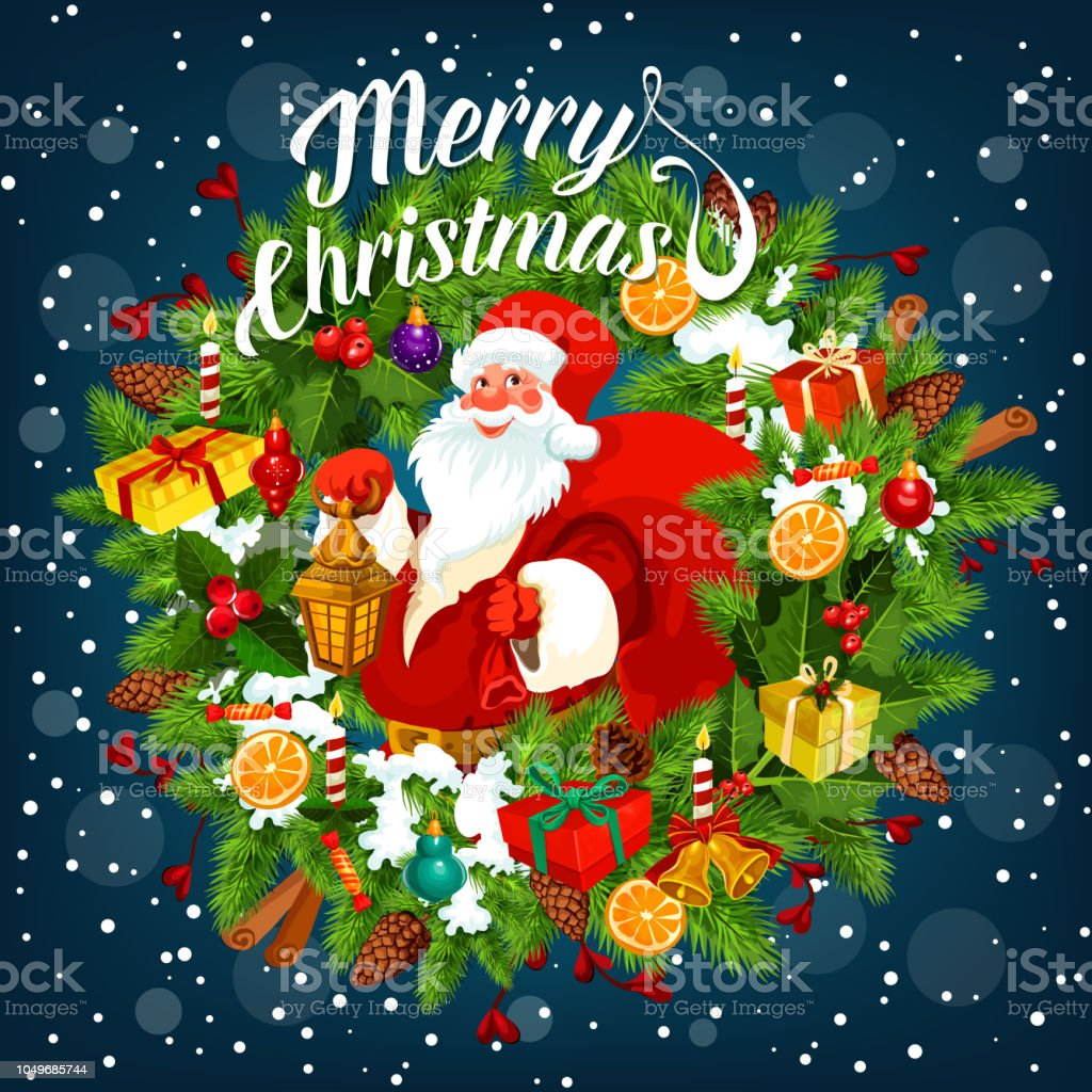 Merry Christmas Card With Santa Claus Holding Sack Stock Vector Art