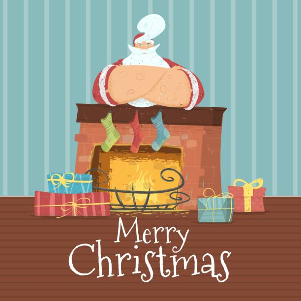 frohe weihnachtskarte mit weihnachtsmann im kostüm - kaminverkleidungen stock-grafiken, -clipart, -cartoons und -symbole
