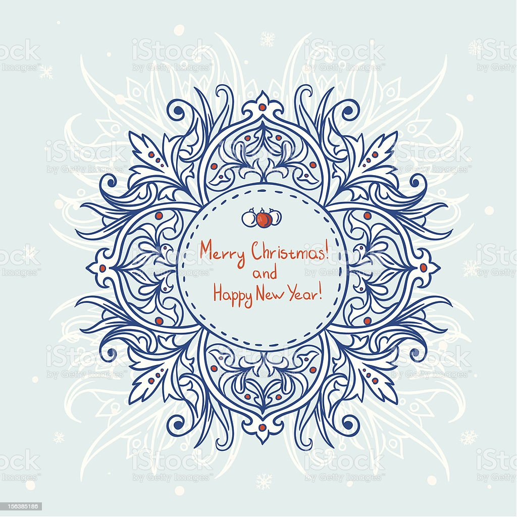 Merry Christmas card with snowflakes royalty-free stock vector art
