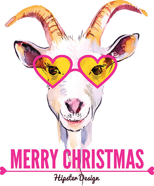 Merry Christmas card with watercolor portrait of hipster goat. Hand drawn vector illustration suave stock illustrations