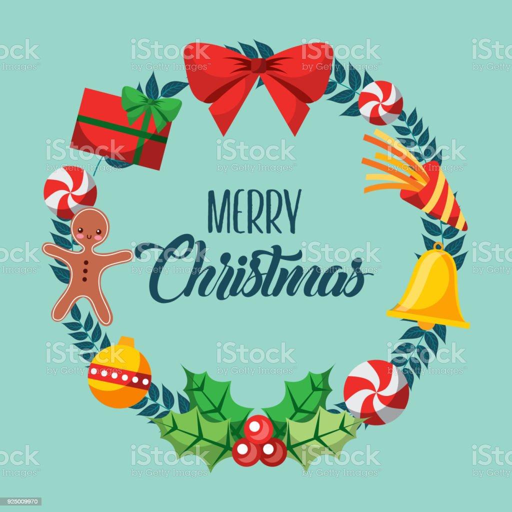 merry christmas card wreath decoration elements ornament vector art illustration