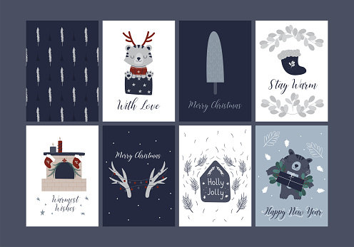 Merry Christmas cards holiday festive Illustration in hand drawn scandinavian style.