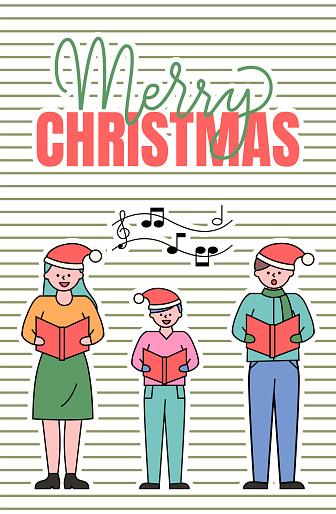 Merry Christmas Caroling of Family Members Card