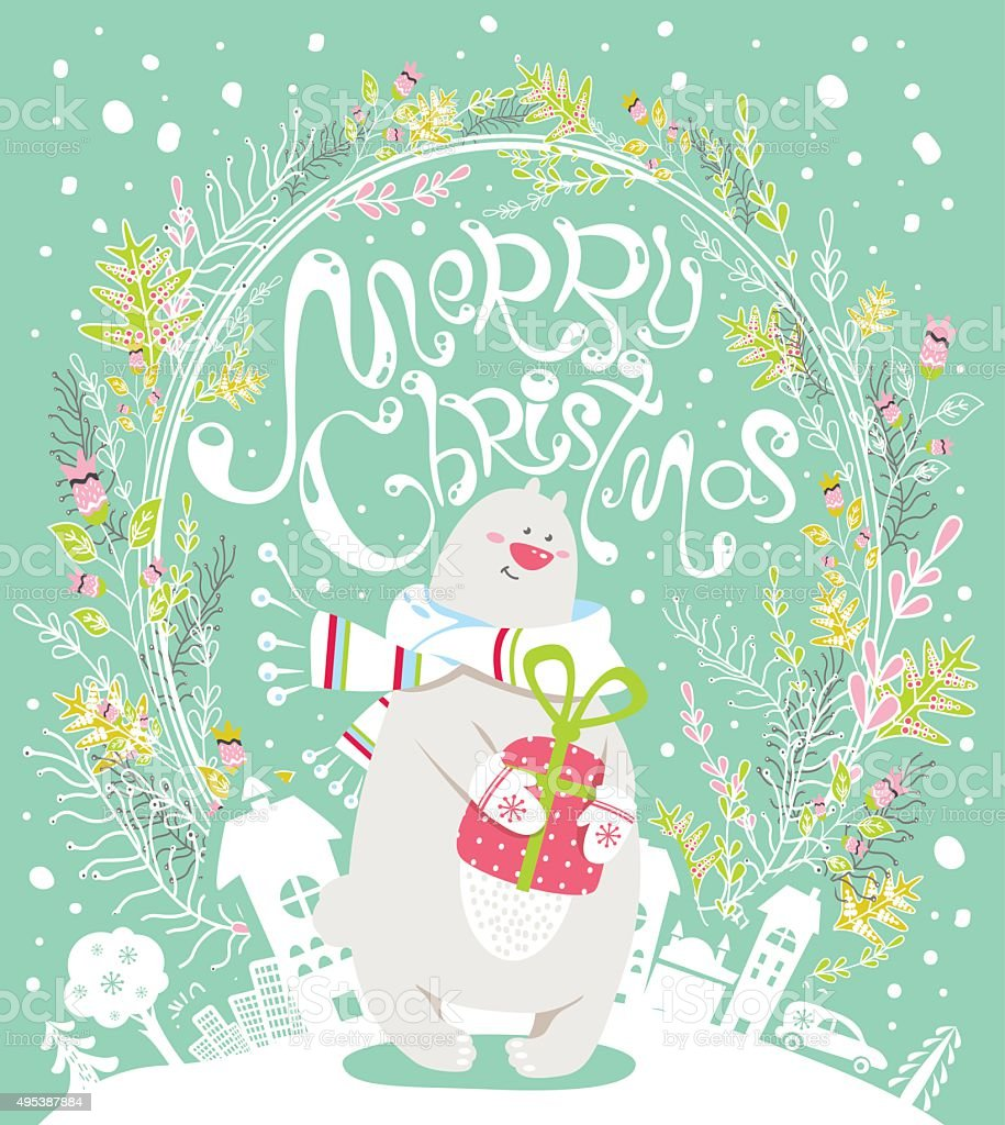 Merry christmas cartoon greeting card with polar bear stock vector merry christmas cartoon greeting card with polar bear royalty free merry christmas cartoon greeting card kristyandbryce Images