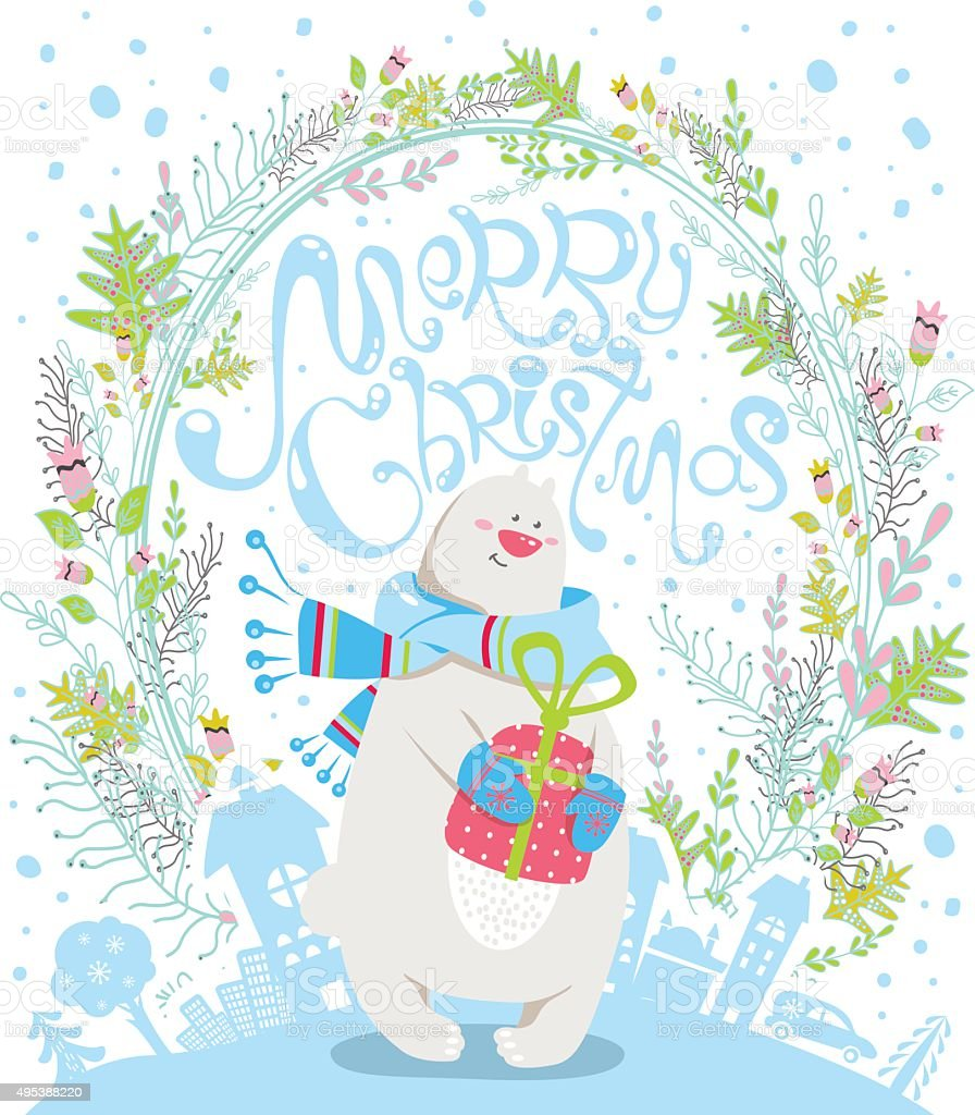 Merry christmas cartoon greeting card with polar bear stock vector merry christmas cartoon greeting card with polar bear royalty free merry christmas cartoon greeting card kristyandbryce Image collections