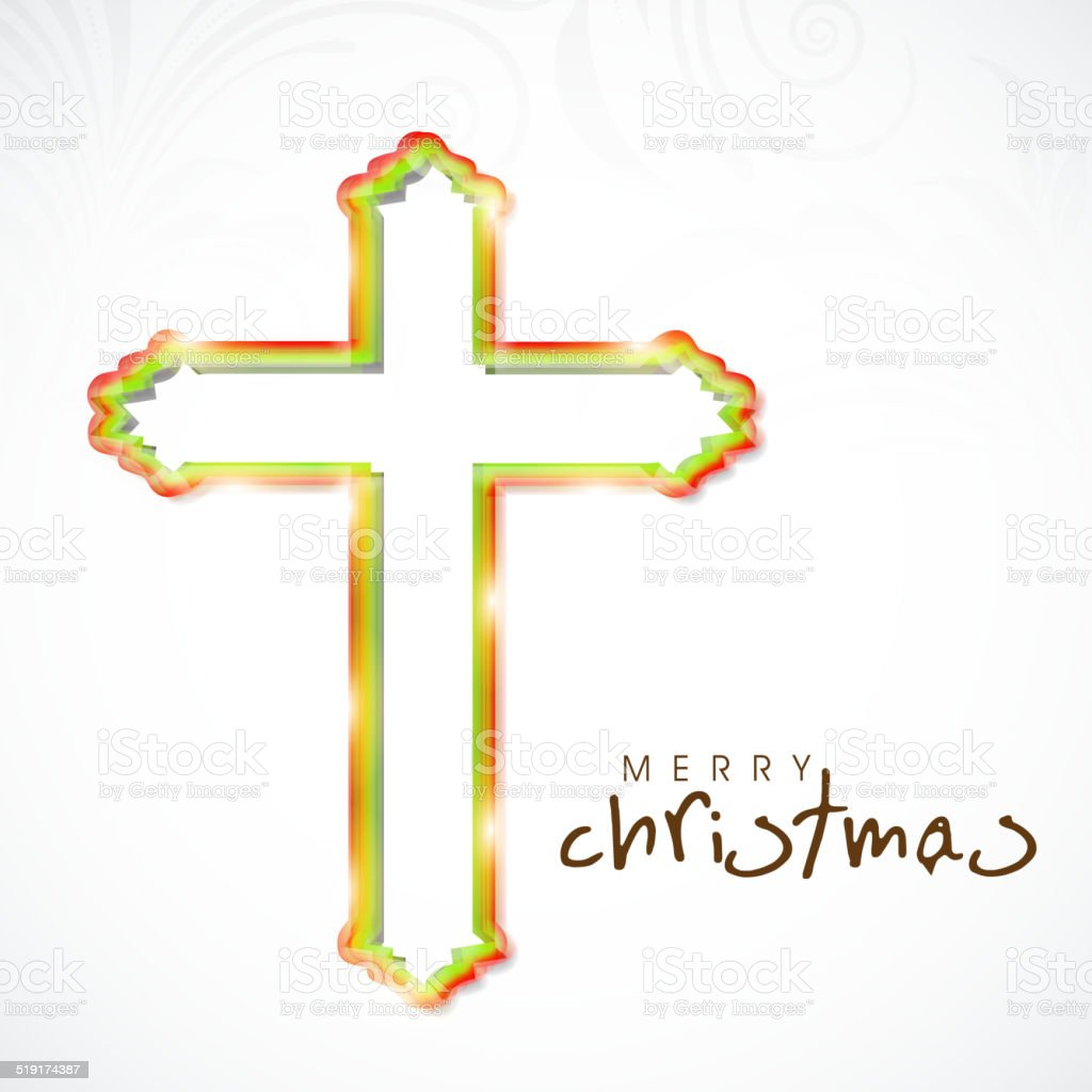 Merry Christmas Celebration Concept With Christian Cross Stock ...