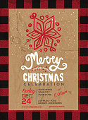 Merry Christmas celebration invitation design with hand drawn elements on a textured background