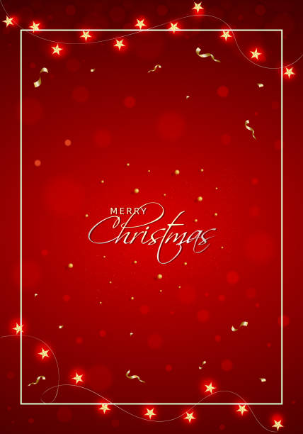Merry Christmas celebration template or flyer design with stars light garland decorated on red bokeh blur background. vector art illustration