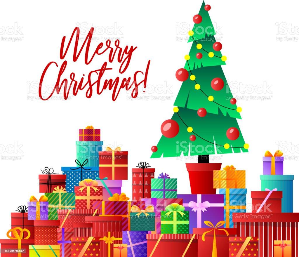 Frohe Weihnachten Weihnachtsbaum Geschenke Xmas Feier Geschmückter ...