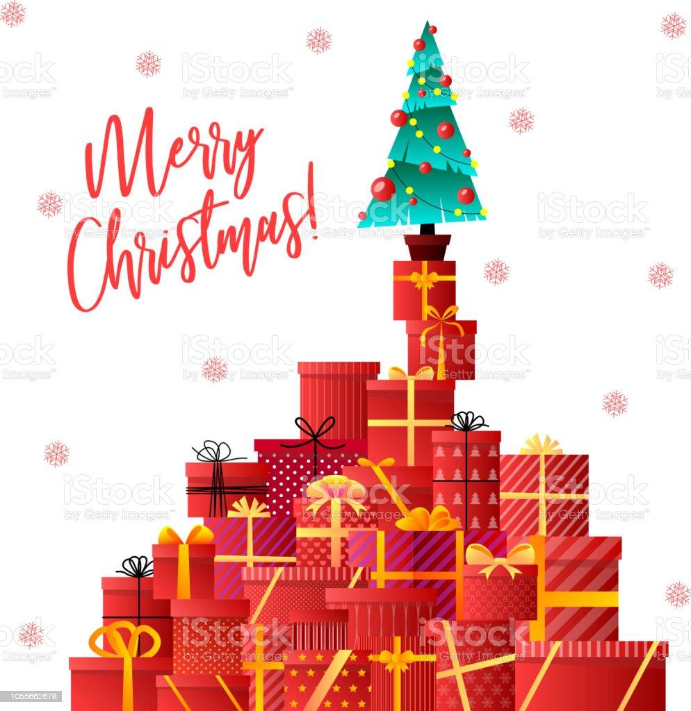 Merry Christmas. Christmas tree, gifts. Xmas celebration. Decorated...