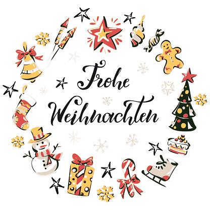 """Merry Christmas"" Christmas Wreath - Merry Christmas wreath in German"