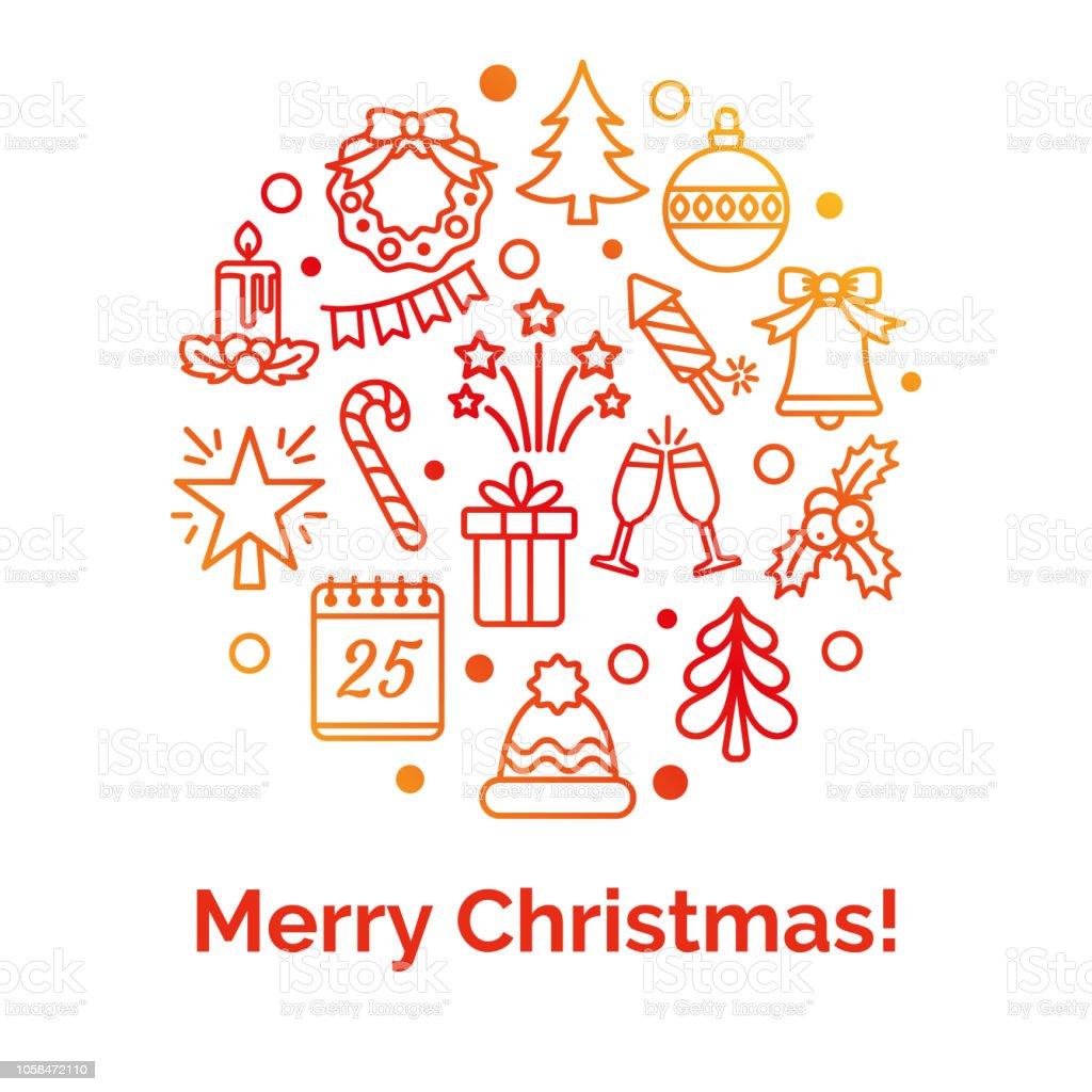 Artikel Weihnachten.Frohe Weihnachtenkreisbanner Mit Symbolen Darstellung Der Symbole