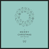 merry christmas circle line icons card green background