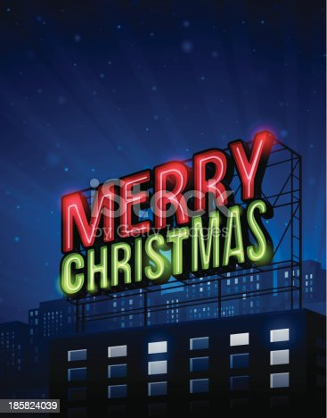 Very detailed Merry Christmas city background with neon sign and buildings and copy space. EPS 10 file. Transparency effects used on highlight elements.