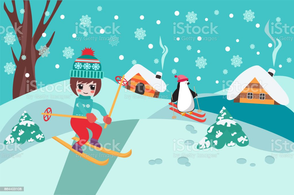 Merry Christmas Collection Background With Cute Chibi Girl Skiing And Penguin Royalty Free