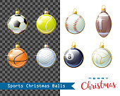 Merry Christmas. Collection of different Sports Christmas balls for your creative works. Vector illustration.