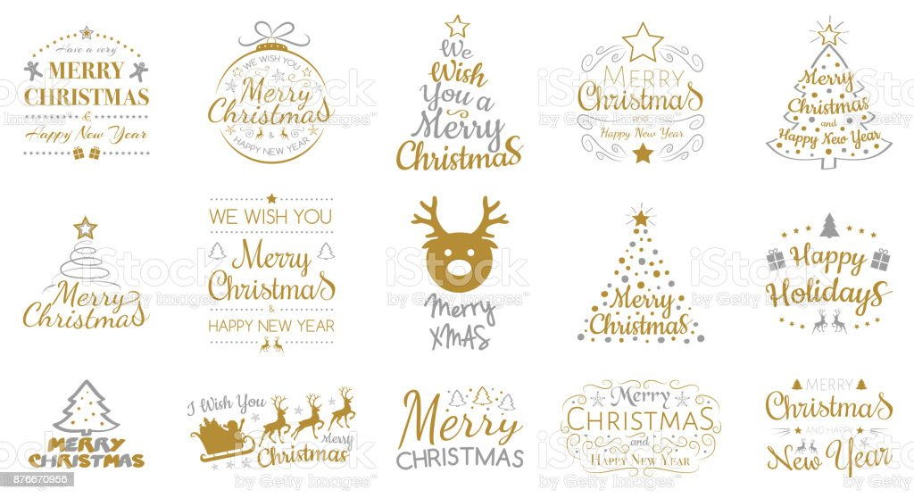 Merry Christmas - collection of icons with decorations and greetings. Vector. vector art illustration