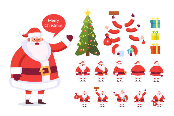 ilustrações de stock, clip art, desenhos animados e ícones de merry christmas. collection of santa claus with presents. - santa claus