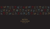 merry christmas colorful icon elements banner black background