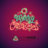 Merry Christmas Colorful Neon Sign