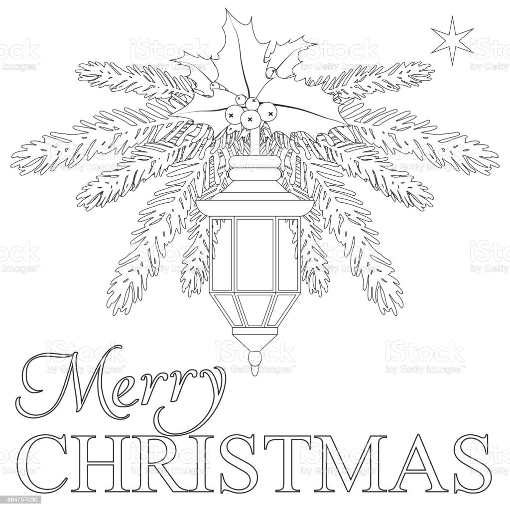 - Merry Christmas Coloring Book Page Stock Illustration - Download Image Now  - IStock