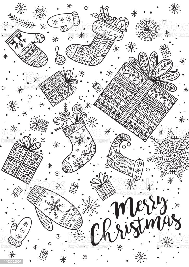 Merry Christmas Coloring Page In Boho Style Stock Illustration - Download  Image Now - IStock
