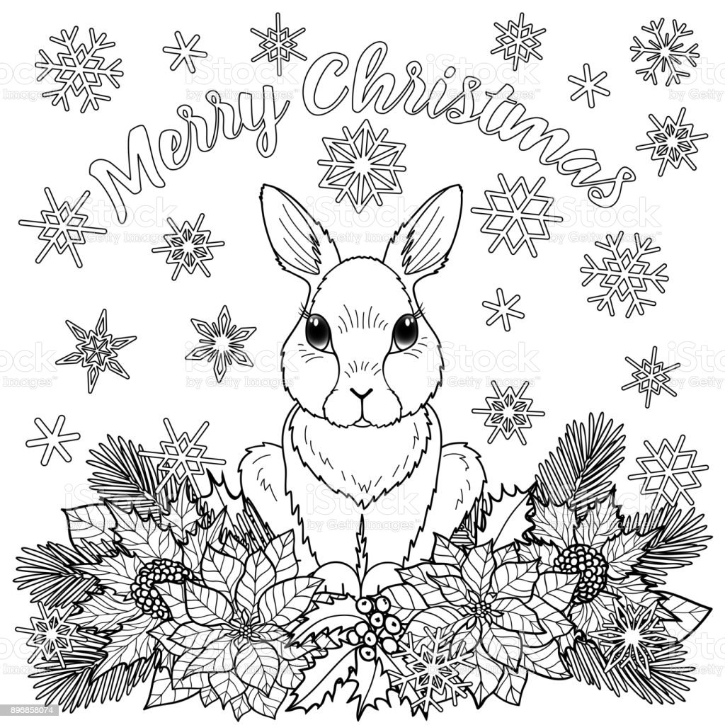 merry christmas coloring page with rabbit vector id