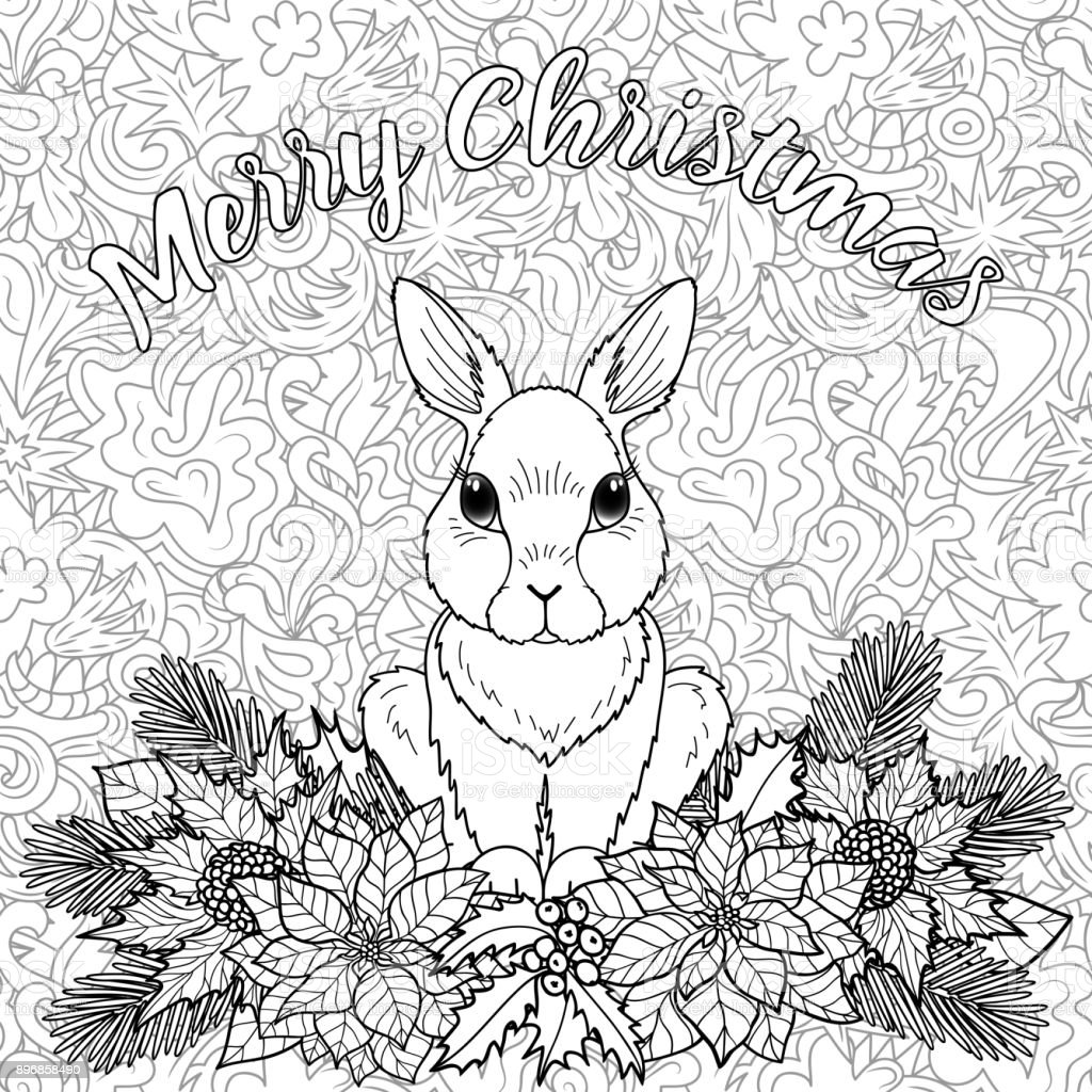 - Merry Christmas Coloring Page With Rabbit Stock Illustration