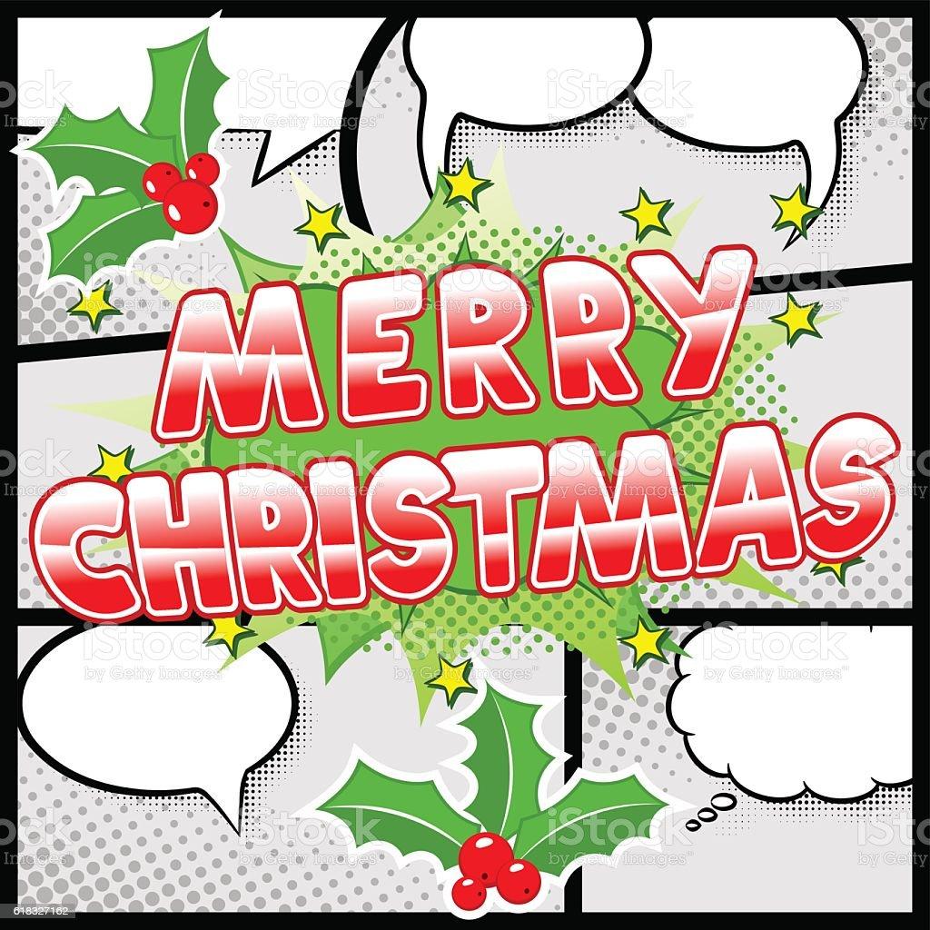 Merry Christmas Comic Speech Bubble In Comic Frames Stock Vektor Art ...