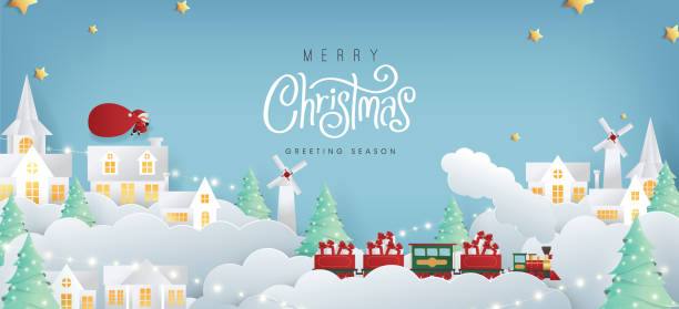 Merry christmas composition in paper cut style.Santa Claus with a huge bag on the run to delivery christmas gifts. Vector illustration. vector art illustration
