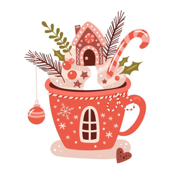 frohe weihnachten-konzept mit heiße schokolade tasse - weihnachtsschokolade stock-grafiken, -clipart, -cartoons und -symbole