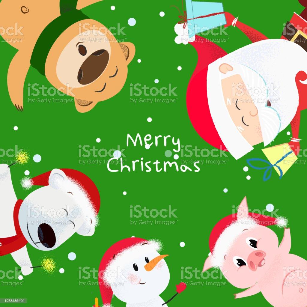 Dibujos De Navidad Creativos.Ilustracion De Feliz Navidad Creativa Verde La Bandera De