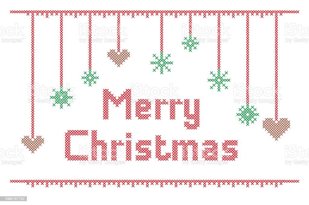 Joyeux Noël Broderie Point De Croix Vecteurs Libres De