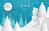 Merry Christmas cut out greeting card with winter landscape, snowman on hill in high hat, forest with white spruces, snowfall, moon and blue sky, vector papercut